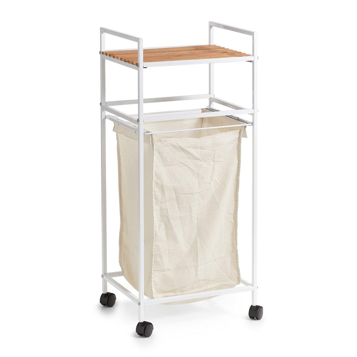Zeller 18721Trolley Cart with Storage, Wood, white, 39x 32x 89.5cm