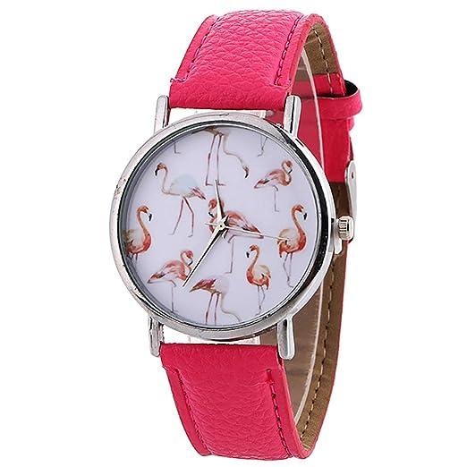 Reloj de Mujer, diseño de Flamenco, Reloj de Pulsera para Mujer, de Cuero Casual, de Cuarzo, de Moda, Reloj de Pulsera de Ahmedy: Amazon.es: Relojes