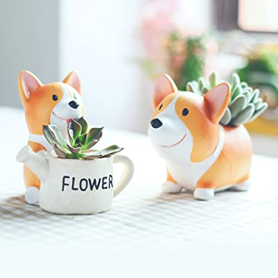 SUN-E Lovely Corgi Dog Shaped Plant Decor Succulent Plants Decorative Flower Pot 2 in Set Idea: Garden & Outdoor