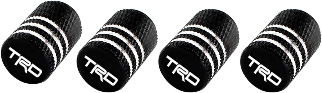 TRD, Black Zelux 4pcs Automotive Car Tires Wheels Valve Stems Black Pattern Caps Cover with Logo Universal Fit for Car SUV Truck Pickup RV Motorcycle Motorsport Racing