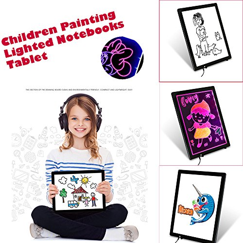 Flurries 14 Inch Children Painting Lighted Notebooks Tablet