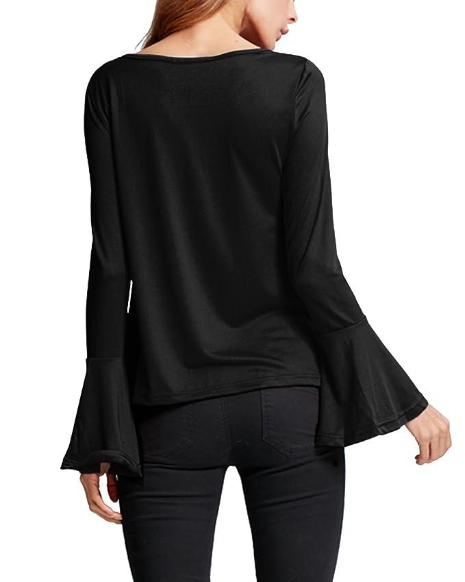 StyleDome Camiseta Mangas Largas Casual Elegante Oficina Playa Cuello V Tiras para Mujer: Amazon.es: Ropa y accesorios