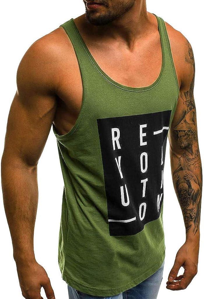 DOLDOA Mens Fashion Vest Casual Slim Letter Print Revolution Sleeveless Summer Spring Workout Tank Top T Shirt Top Blouse,M-2XL