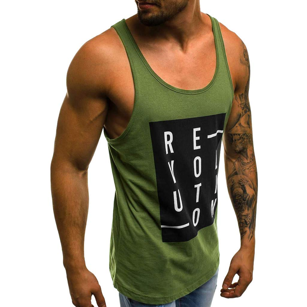 miqiqism Sleeveless T-Shirt Men Striped Letter Print Tank Tops Bodybuilding Tees Gym Fitness Workout Stringer Muscle Vest Shirt (Green B, L)