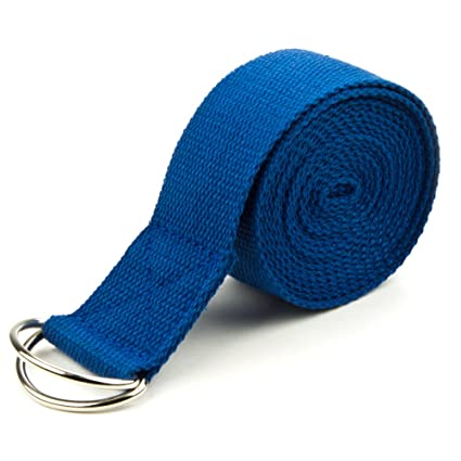 Crown Sporting Goods 10-Foot Extra-Long Cotton Yoga Strap with Metal D-Ring (Blue)