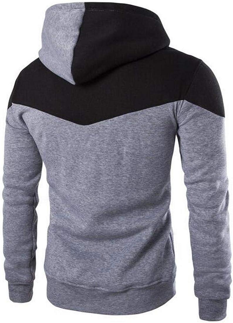 OTW Men Hooded Drawstring Color Block Gym Workout Athletic Hoodies Sweatshirt