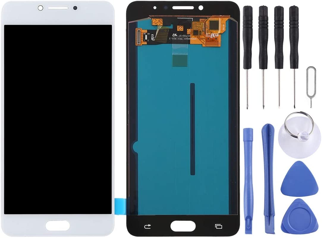 Black Smartillumi LCD Screen Replacement LCD Screen and Digitizer Full Assembly OLED Material for Galaxy C7 Pro // C7010 Color : White LCD Screen