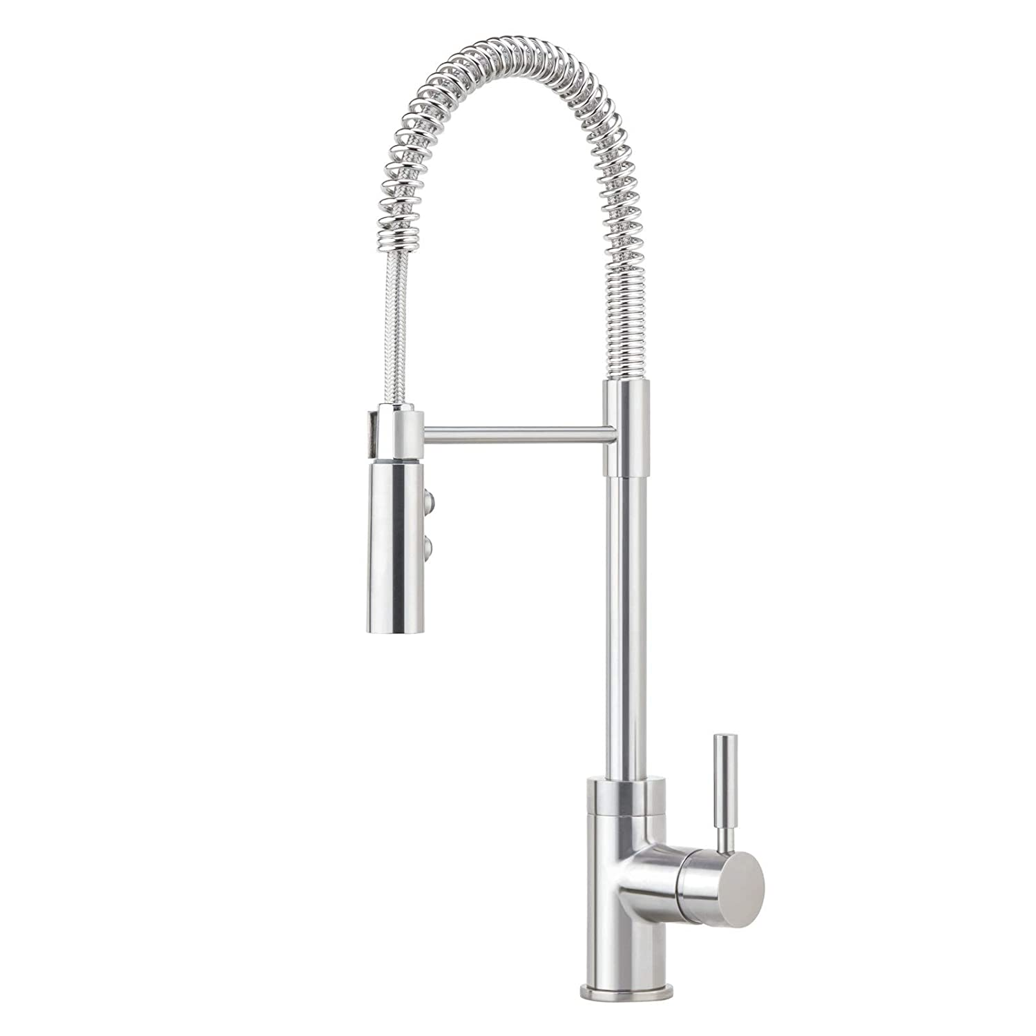Miseno MK6557-SS Professional Commercial Style Pre-Rinse Kitchen Faucet - Includes and Decorative Deck Plate