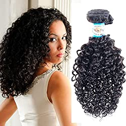 JERRY CURL Virgin REMY Hair Brazilian Can be Dyed ABSORBS COLOR Easily Tangle Free Less Maintenance Hair Weave Extension WEFT TRACK Natural Black Color 10 Inch