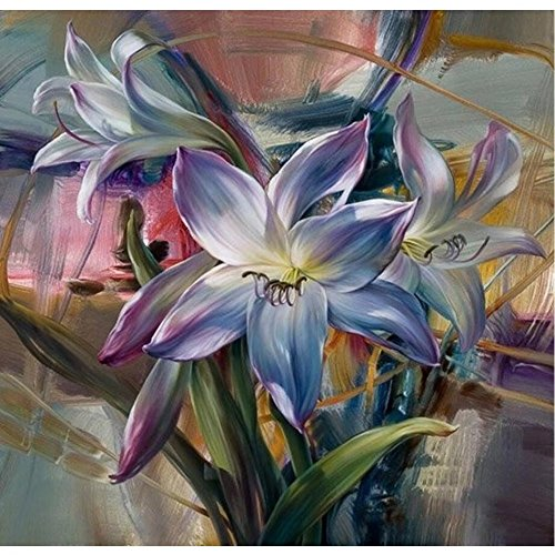 SUBERY Paintworks DIY Oil Painting Paint by Number Kits for Adults Kids Beginner - Elegant Flowers 16x20 inches (Without Frame)