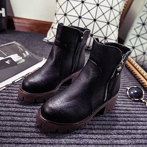 Round Martin Cotton Boots Head Black zrwAz5q