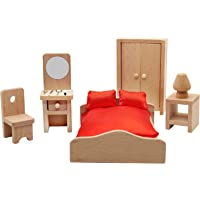 Warmtree Wooden Classic Doll House Furniture Wood Miniature Bedroom Set and Hair Styling Accessories Pretend Play House…