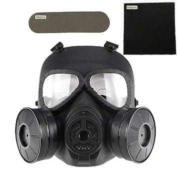 haoYK Máscara antigas simulada de, máscara de cara M04 con ventilador doble, para protección de paintball, airsoft (Negro): Amazon.es: Deportes y aire libre