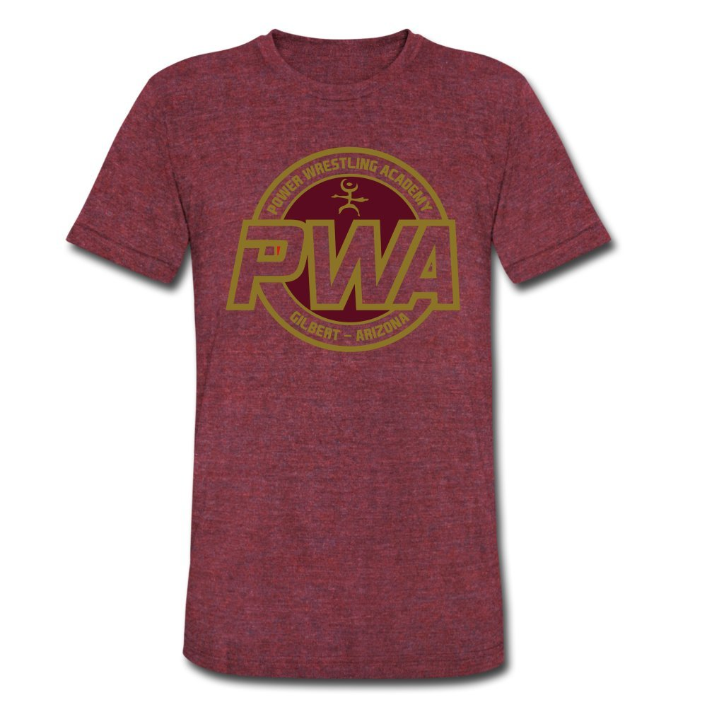ATHLETE ORIGINALS Unisex Tri-Blend T-Shirt Power Wrestling Academy Pwa Badge by Cb Dollaway M Heather Cranberry by ATHLETE ORIGINALS