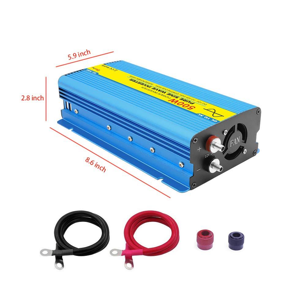 Transformateur DC 12v /à AC 220V// 230V// 240V Pic 1000W 500W Prise Secteur /& Port USB 5V //2A pour Voiture//Machine Caf/é//Caravane//Bateau//Camping Convertisseur Pure Sinus