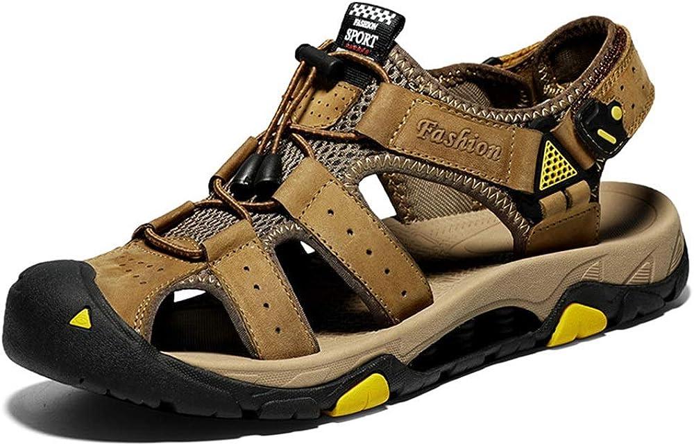 ZYDP Sandales Chaussures de Plage en Daim Respirantes for Hommes Kaki