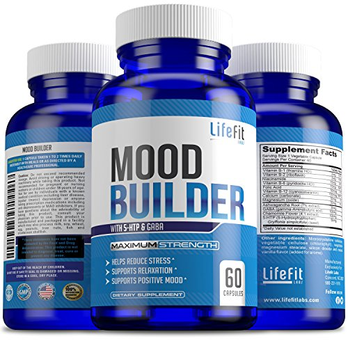 Mood Builder - Premium Mood Support Supplement | Superior Efficiency Natural Stress Relief | Vegan Dietary Herbal Calming Capsules for Men & Women | Boosts Relaxation & Overall Well being by LifeFit Labs (Image #1)