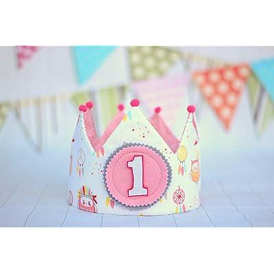 Corona cumpleaños niña, corona de tela reversible para bebés, decoración de cumpleaños