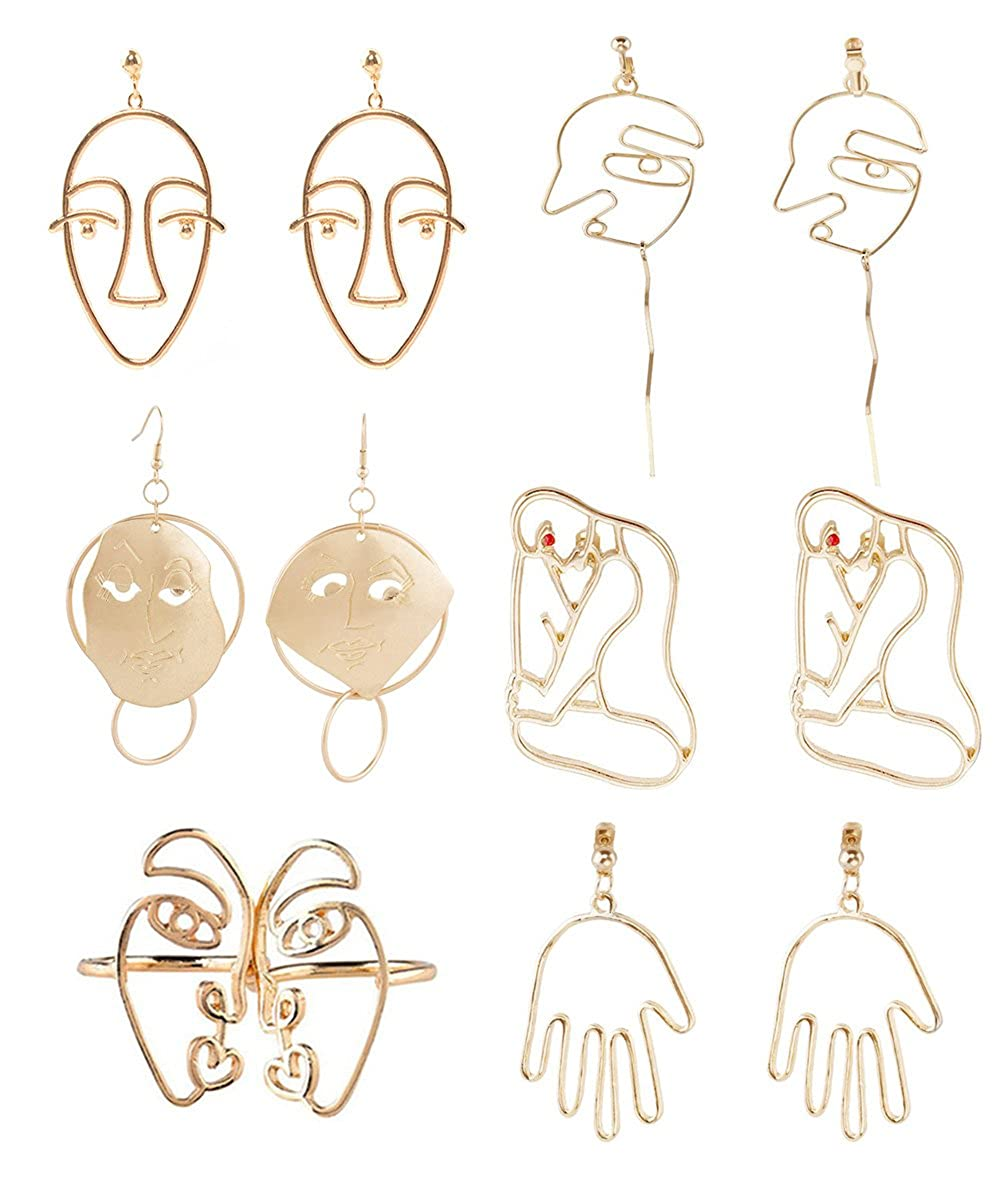 Mrotrida Face Earrings Set Abstract Art Human Face Hand Dangle Earring & Face Rings for Girls Fashion Geometric Statement Earrings for Party Birthday Valentine's Day Christmas Bgoodgirl SK396-G