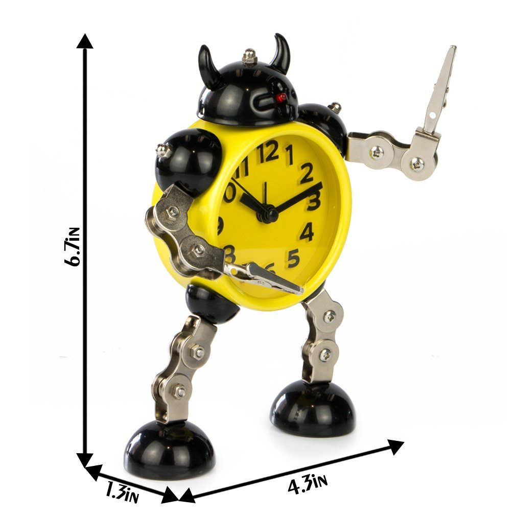 Flashing Lights Free to Make Poses /… AX-AY-ABHI-123438 Small Yellow PiLife Silent Non-ticking Metal Robot Alarm Clock with Card or Note Holder