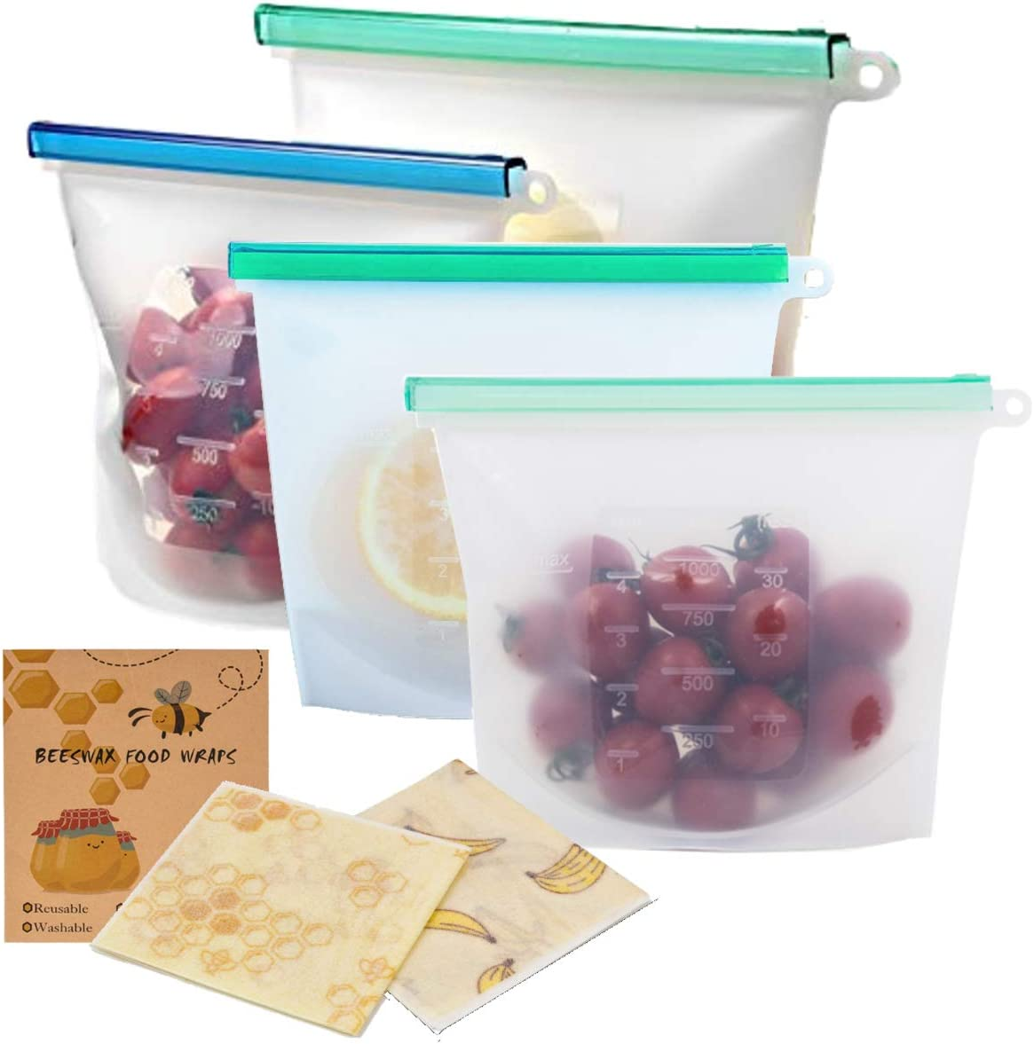 Silicone Reusable Storage Bags- BPA Free, Food-Grade, Leak Proof Food Storage. Ideal Snack, Lunch Bag, Sous Vide Container- Freezer, Microwave, Dishwasher Safe (1 Lrg, 3 Med) Beeswax Wrap (2) Included