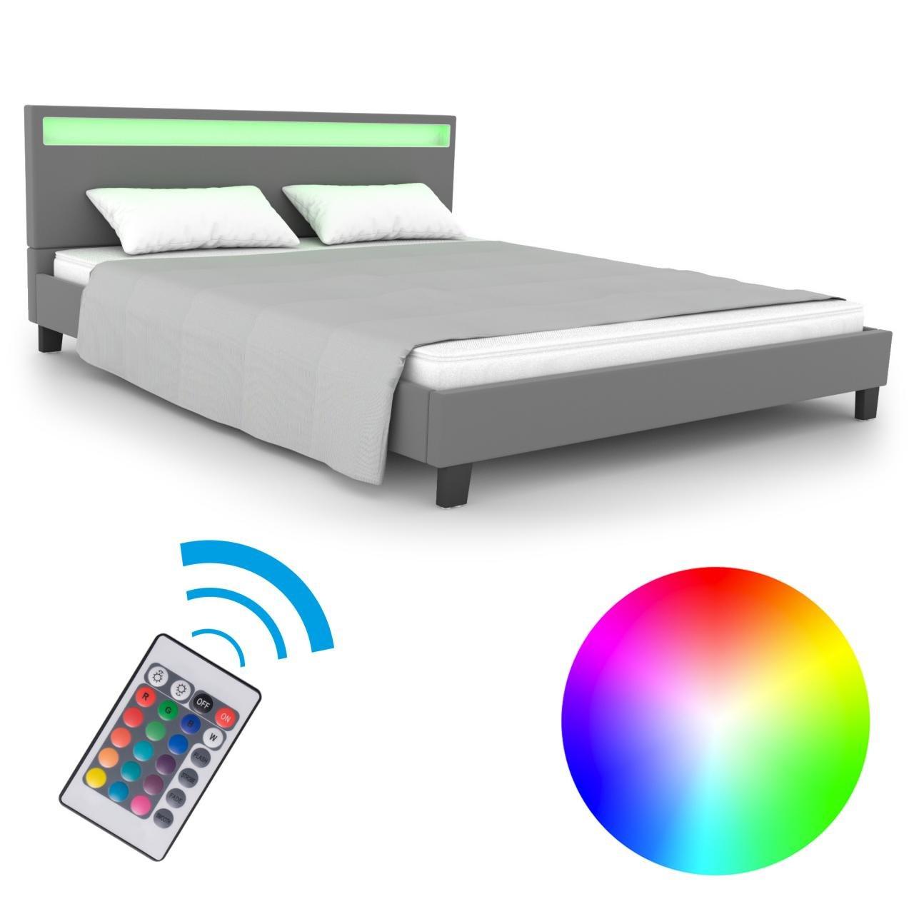 Homelux LED Bett Polsterbett Doppelbett Kunstlederbett Bettgestell ...