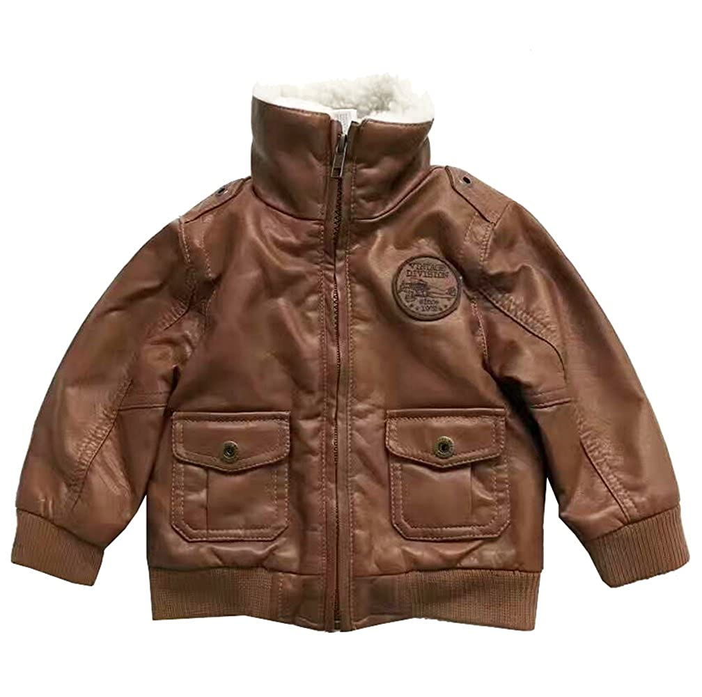 eKooBee Infant Baby Boys Jackets PU Leather Brown Zip Up Fur Padded Outerwear Coats