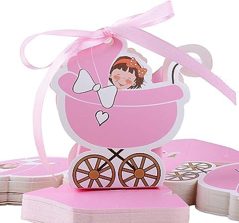 FLOFIA 50pcs Cajas Cajitas Caramelos Bautizo de Papel Cartón Niña Rosa Estilo Cochecito con Cintas Favor Box para Decoración Baby Shower Girls Fiesta Cumpleaños Regalo Detalles Bombones Invitados: Amazon.es: Hogar