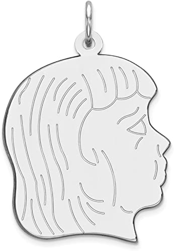 Solid 925 Sterling Silver Engraveable Polished Front//Satin Back Disc Pendant Charm 20mm x 26mm