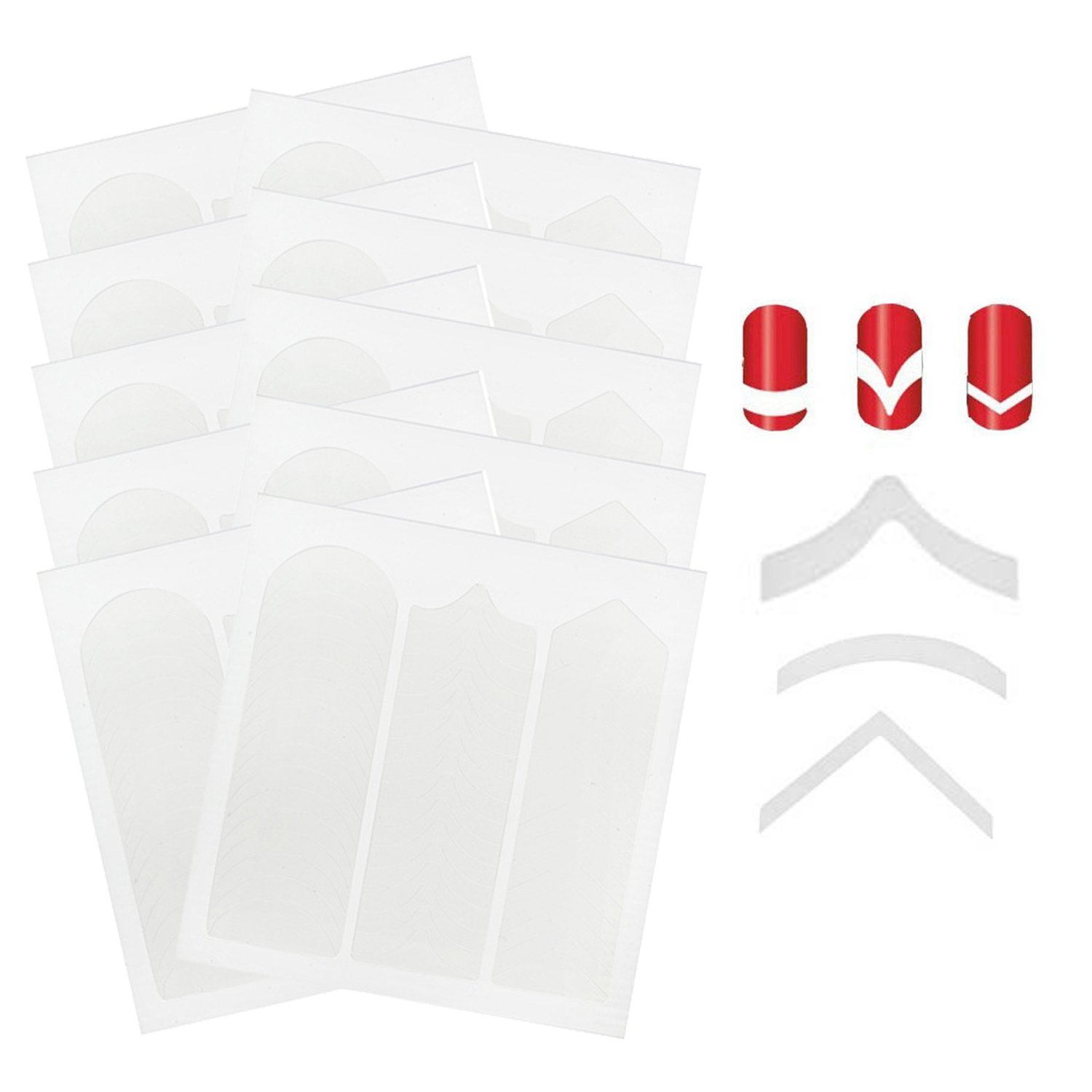 Amazing Value 10pcs Professional Nail Art Salon Quality Cards Each With 51pcs White Guides Stickers / Strips In 3 Different Shapes For French Nails Manicure And Lines Designs / Patterns Application By VAGA