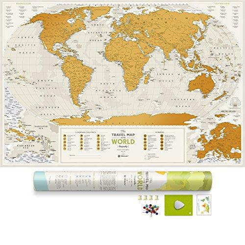 Detailed Scratch Off World Map - Premium Edition - 34.6