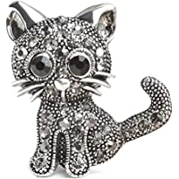 HENGSONG Cute Cat Crystal Clothes Pin Brooch Shiny Rhinestone Pin Brooches for Women Jewelry for Girlfriend Her Valentine Christmas Birthday Gift