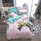 kele Cotton four-piece, Nordic Simple Cotton Bedding set, 1 quilt cover, 1 sheet, 2 pillow cases - 4 piece-D Queen1