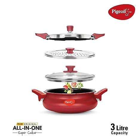 Amazon.com: Pigeon todo en uno Super Cocina – Rojo, 3 litros ...