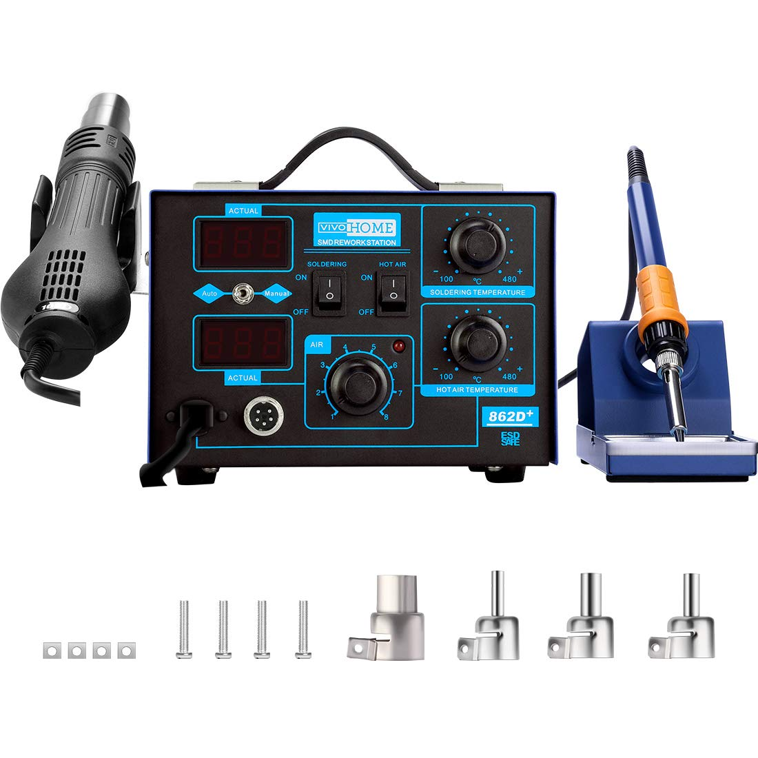 VIVOHOME 2 in 1 862D+ SMD Soldering Iron Hot Air Heat Gun Rework Station with 4 Nozzles 110V
