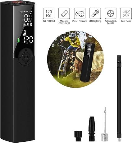 Oferta amazon: VEEAPE Compresor de Aire Portátil Mini Bomba de Inflado Eléctrica con Indicador de Presión LCD Digital de 120PSI 1200mAh Batería de Litio,para automóviles Motocicletas y Todas Las Bicicletas