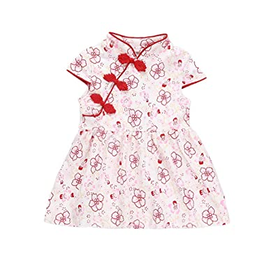 48f6ef676d0cc Amazon.com: Dirance Toddler Girl Short Sleeve Chinese Style Flower ...