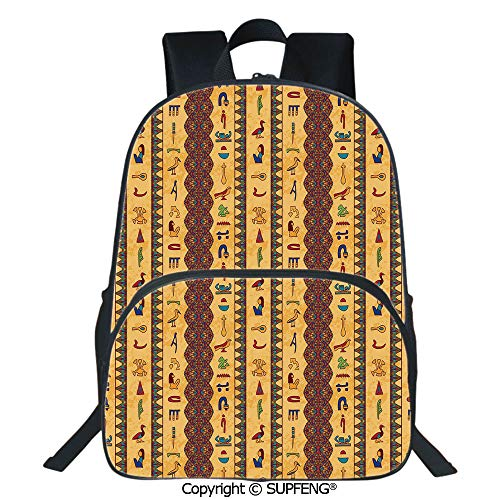 (SCOXIXI Laptop Backpack Ancient Hieroglyphs and Floral Geometric Ornament Border Aged Paper Style Backdrop (15.75