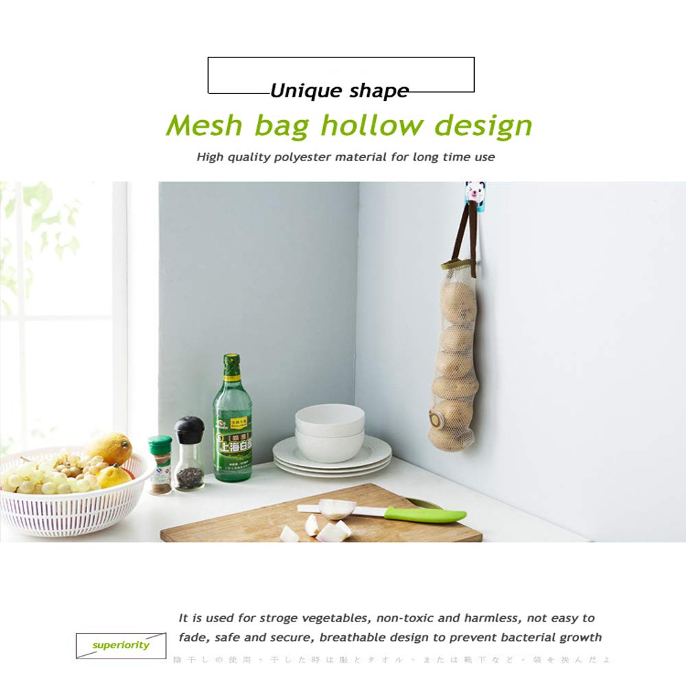 Pepper Wall Hanger Kitchen Grocery Bags Potato MUZOCT 3 Pcs Reusable Fruit and Vegetable Storage Bag Holder Hanging Mesh Organizer Container for Garlic Onion