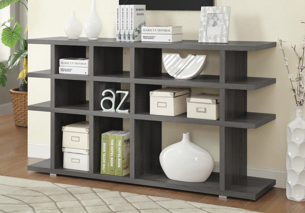 1PerfectChoice Contemporary Bookcase Bookshelf Console Table Stand Shelves Wood Weathered, Grey