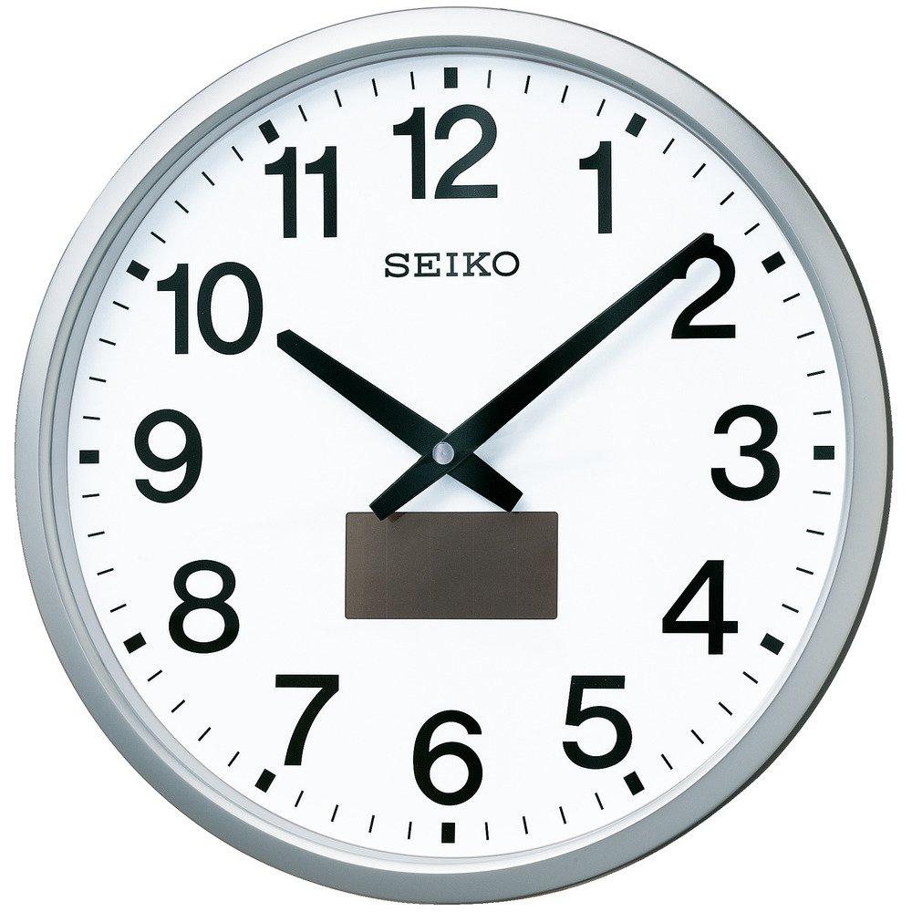 セイコー クロック 掛け時計 ハイブリッドソーラー 電波 アナログ 銀色 メタリック SF242S SEIKO B00CPIYNN0