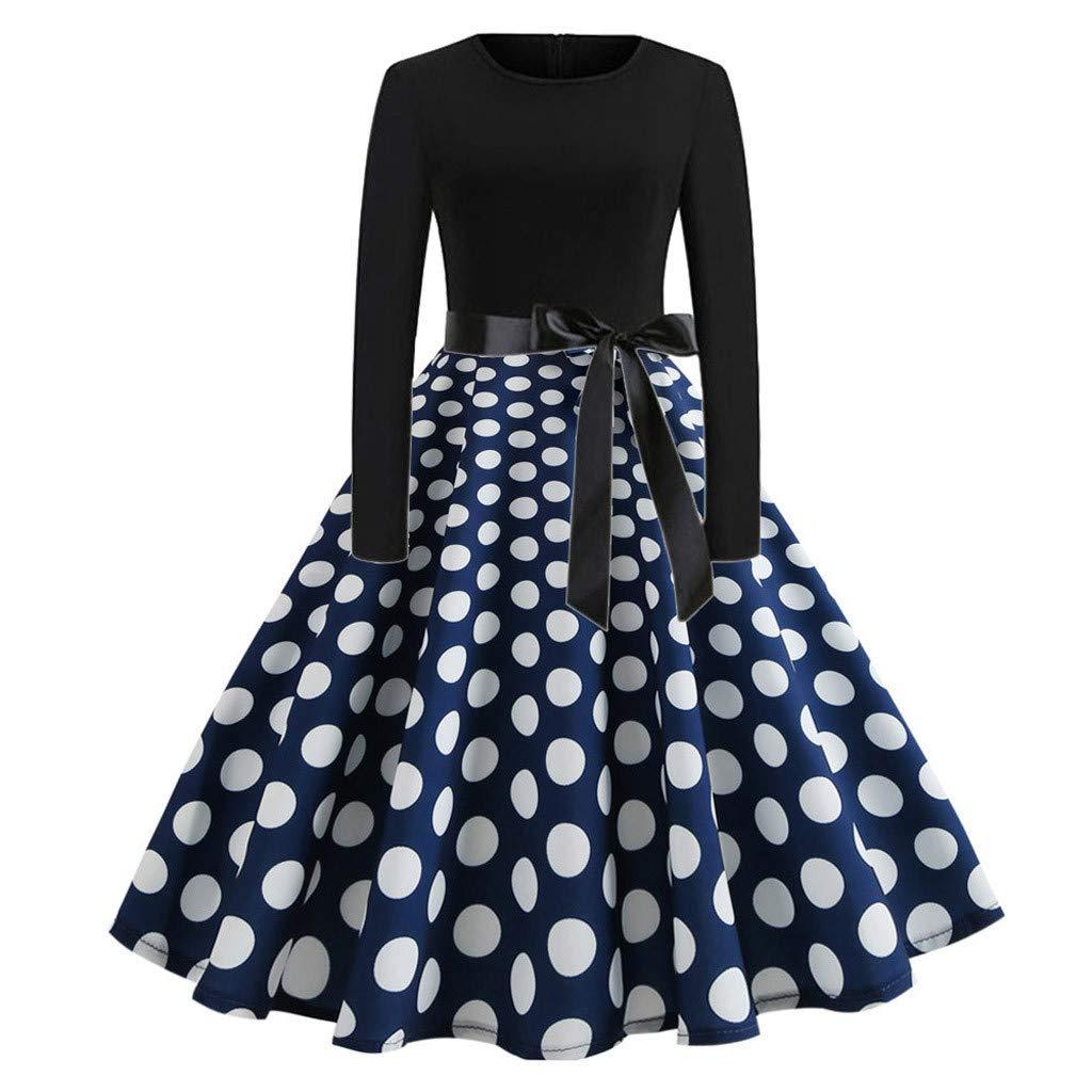 Women's Elegant Retro Dress,CSSD Ladies' Casual Evening Dot Printing Loose O-Neck Long Sleeve Pendulum Dresses (S, Dark Blue)