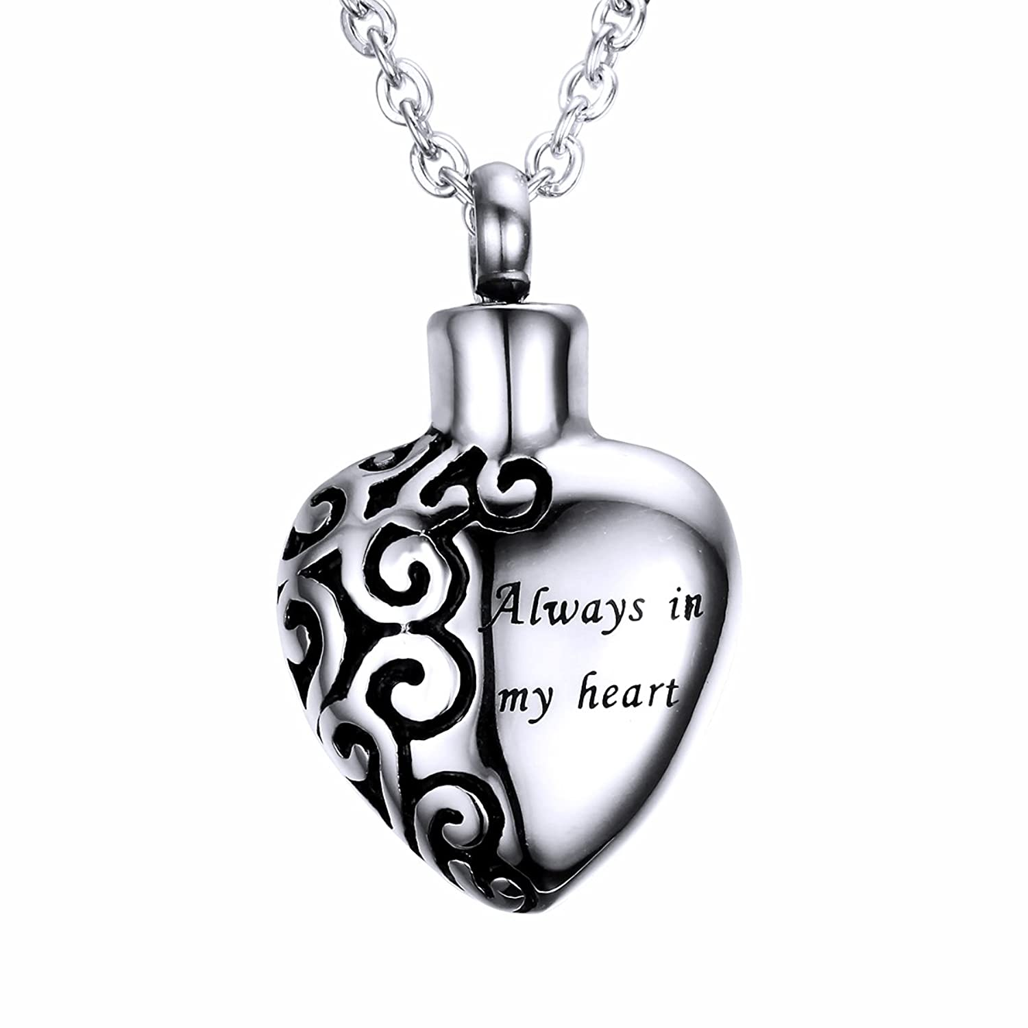 ash jewelry store bag gift keepsake product cremation memorial urn pendant lily enamel waterproof with motorcycle and stainless chain steel shield necklace black