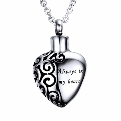 HooAMI Heart Cremation Urn Necklace for Ashes Jewellery Keepsake Memorial Pendant KLhY9N