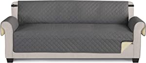"""TAOCOCO Couch Cover, Waterproof Furniture Protector Sofa Cover for Oversize Seaters with Elastic Straps Anti-Skid Sofa Slipcover (Grey/Beige, 76.8"""")"""