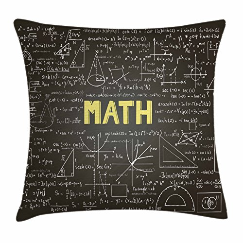 Mathematics Classroom Decor Throw Pillow Cushion Cover by Ambesonne, Dark Blackboard Word Math Equations Geometry Axis, Decorative Square Accent Pillow Case, 20 X 20 Inches, Dark Brown White Yellow