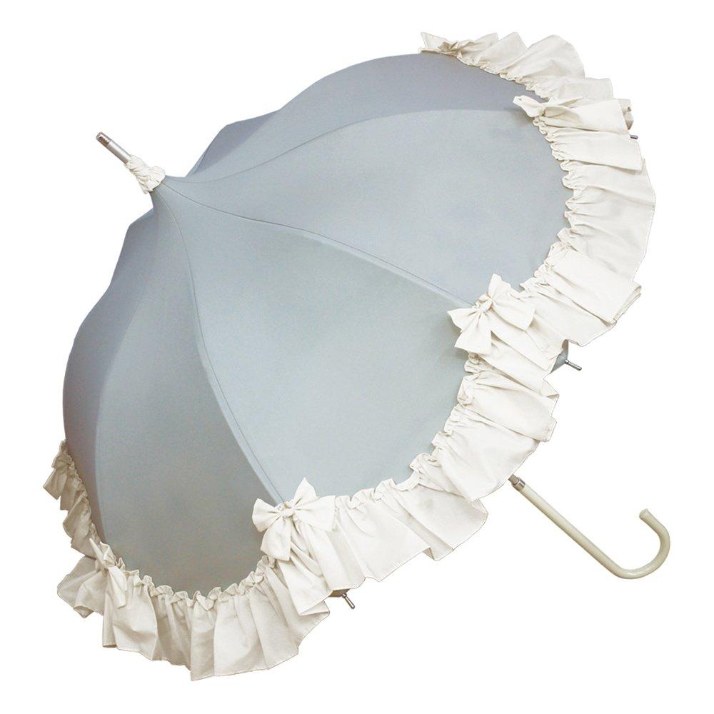 ルミエーブル 長傘 手開き エトランジュ アリス パゴタアンブレラ 全2色 サックス 8本骨 47cm UVカット率 99.4% 以上 グラスファイバー骨 日傘/晴雨兼用傘 0102-16006 B06XT8WFC3サックス