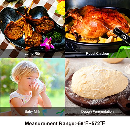 Habor Thermometer Instant Read 3s Super Fast Digital Food Cooking IPX7 Waterproof with USB Rechargeable and Touchable Button, for Kitchen BBQ Grill Smoker Meat Milk Candy, Glossy Black by Habor (Image #6)