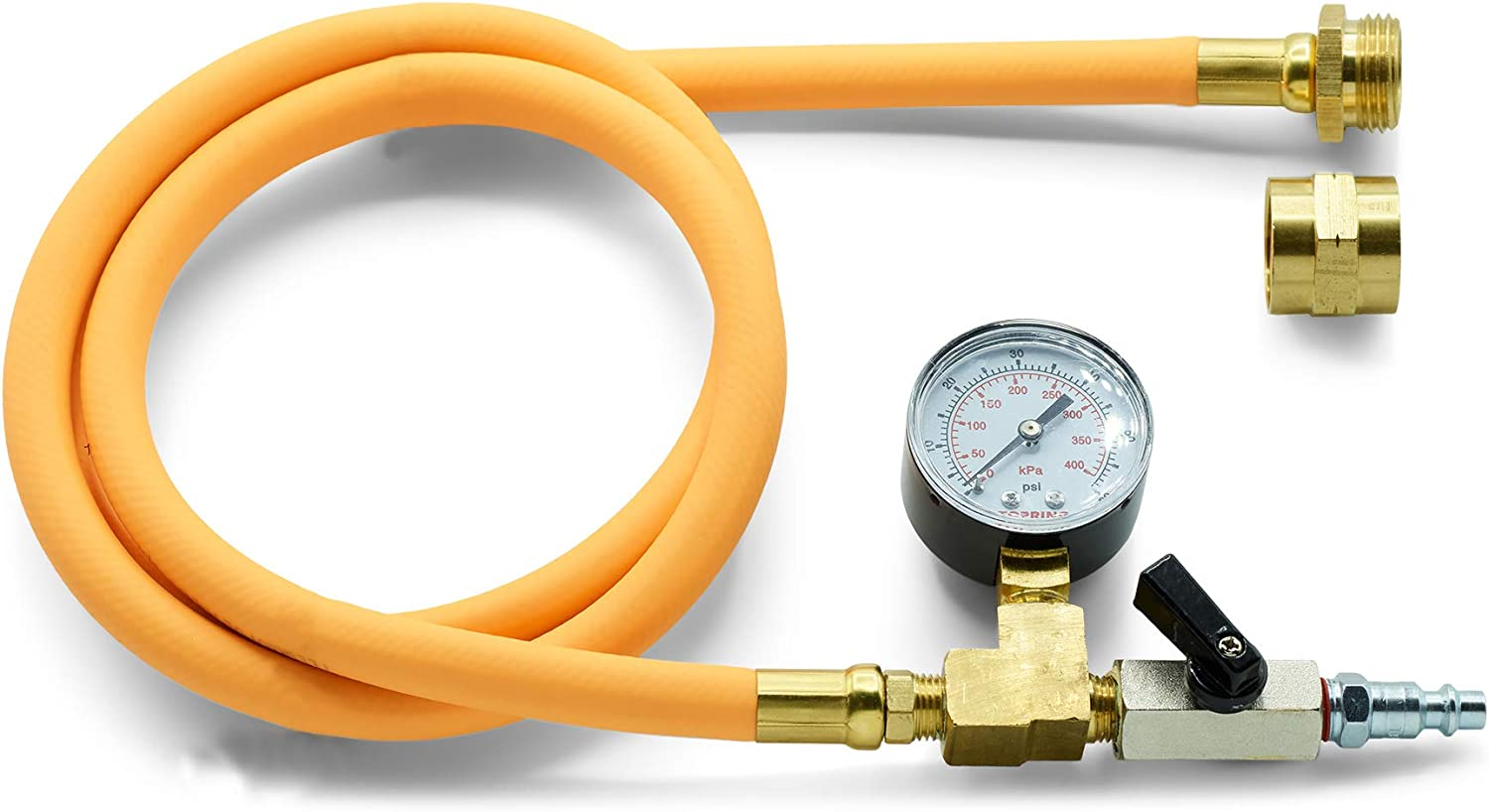 TOPRING Long Hose Air Compressor Water Blow Out Adapter with Pressure Gauge, RV Winterizing Kit with Male and Female Garden Hose Connector