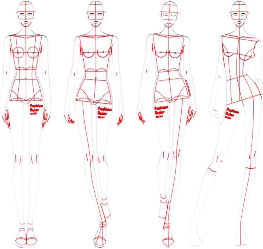 para mujer 4 plantillas de Acr/ílico para hombre CUTOOP din/ámicas y francesas patr/ón de medici/ón de ropa humanoide